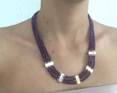 collar bertha de 3 hilos de amatistas con plata de ley .925