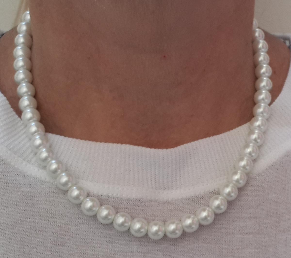 0df3793cc54a Collar Bisutería De Perlas Blancas