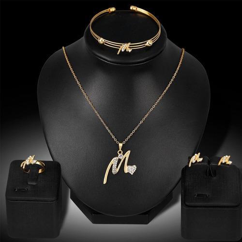 collar boda pulsera anillos pendientes set joyas dama mujere