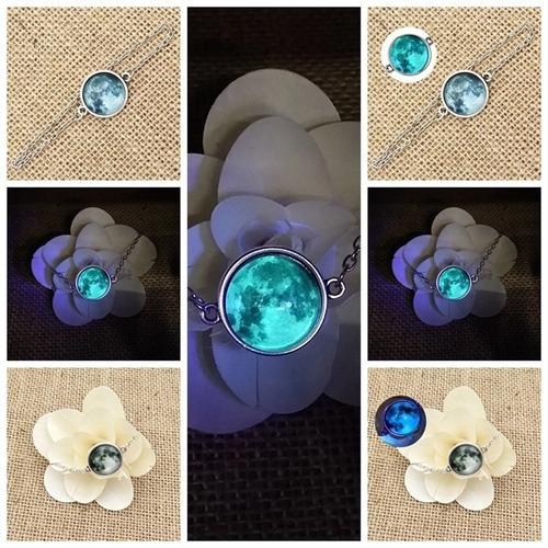 collar + brazalete luna llena brilla en la obscuridad azul