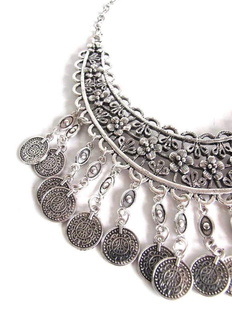 5265015431f6 collar breede plateado monedas rigido mujer. Cargando zoom.