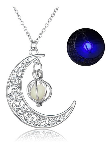 collar brilla en la oscuridad fluorescente media luna mujer