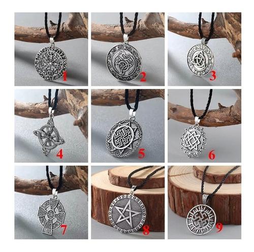 collar brujula, amuleto pagano, vikingo