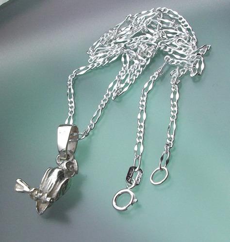 collar buho  en plata ley.925
