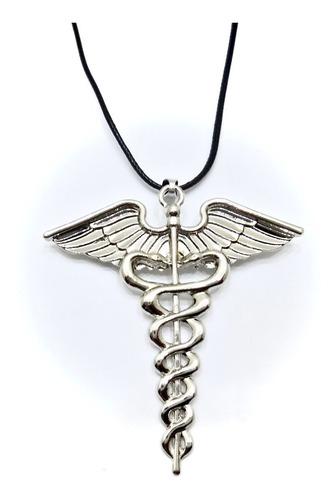 collar c/ forma de esculapio médico salud moda caduceo latid