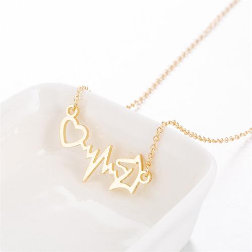 collar caballo corazón electrocardiograma dorado n-095 f