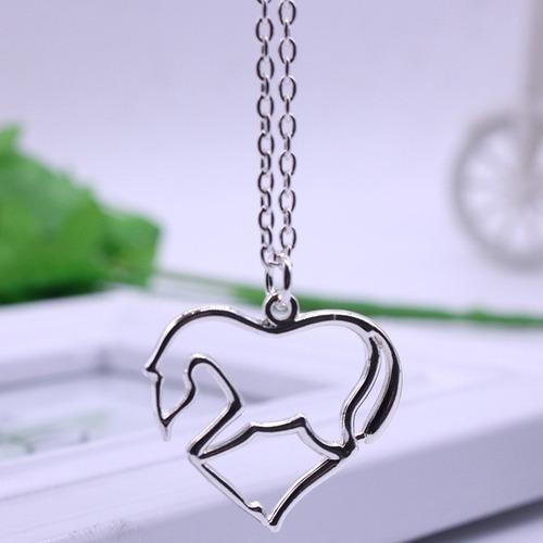 collar caballo corazón plateado regalo amor amistad n-064 f