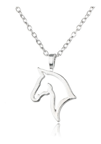 collar cabeza de caballo plateado regalo amor n-021 f
