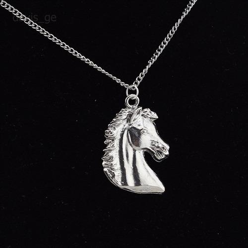 collar cabeza de caballo plateado regalo exclusivo n-035 f