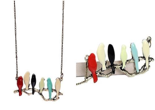 collar cadena colgante rama pájaros mujer moda vintage