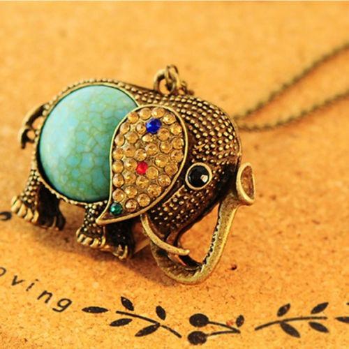 collar cadena con bonito dije elefante turquesa