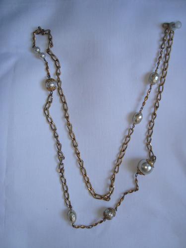 collar cadena italiano con perlas bien largo e.gratis cuotas
