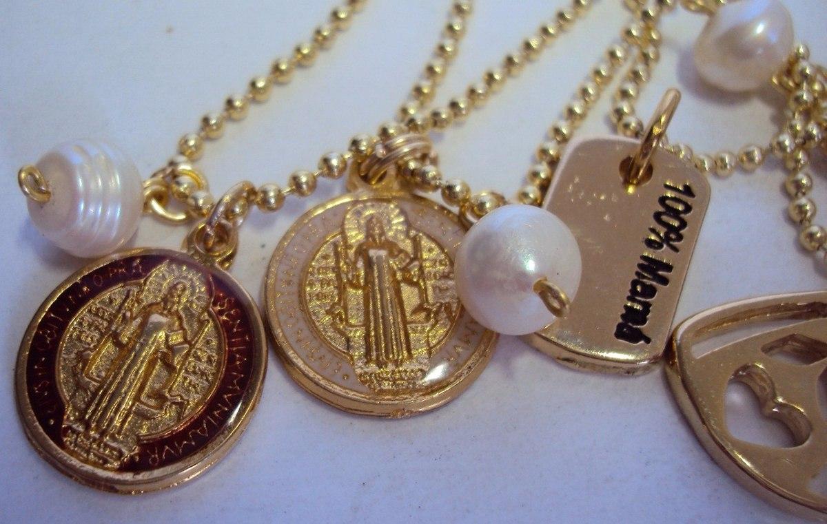 Collar cadena militar dije con ba o de oro perla - Bano de oro ...