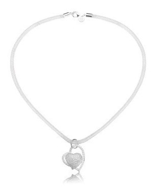 collar cadena plata s925 corazón regalo para mujer con caja