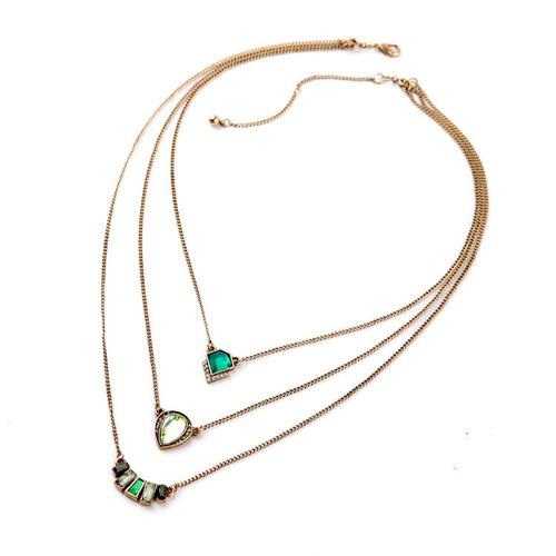 collar capas accesorio mujer moda piedra color esmeralda