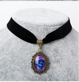 bajo precio 81323 533a5 Collar Choker Gargantilla Pendant Camafeo Galaxia Mujer Moda