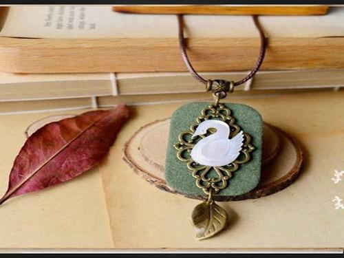collar colgante cuerda cadena cisne hoja vintage para mujer