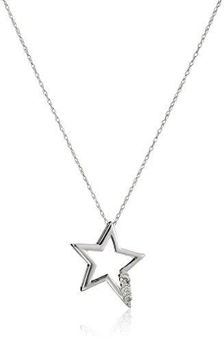 collar colgante de oro blanco de 10 k y estrellas de 110 ct