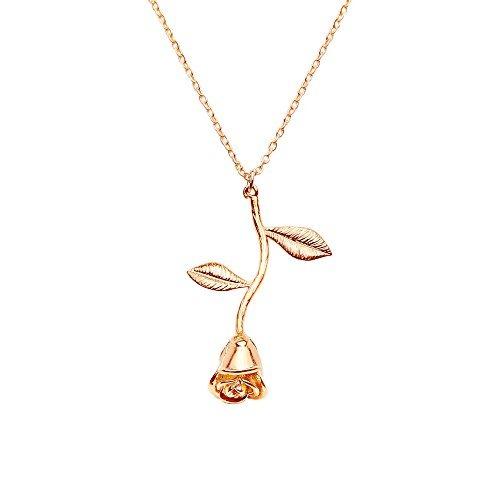 collar colgante de rose en oro rosa de oro regalo de plata d