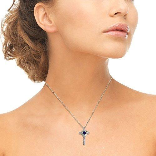 collar colgante de zafiros azules con cruz de plata esterlin