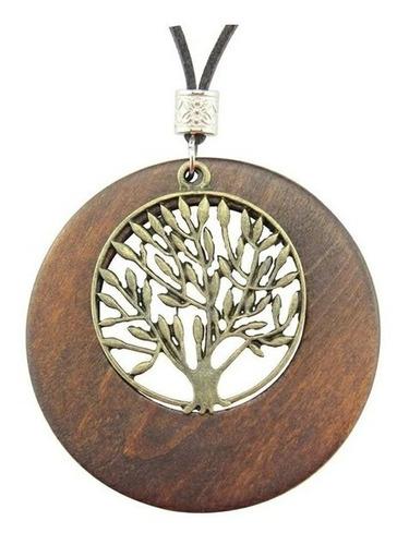 collar colgante mujer cadena de cuero árbol de la vida moda
