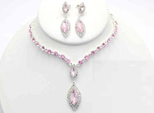 collar con arete rosa cafu435-11 a20