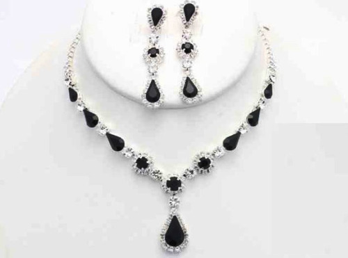 collar con arete silver black cafu461-01 a20