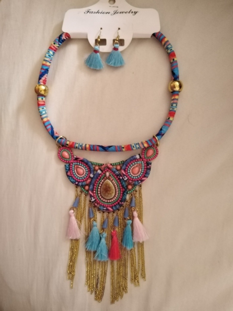 comprar online f4211 f7099 Collar Con Aretes De Cordon Piedras Hermoso Diseño Bisuteria