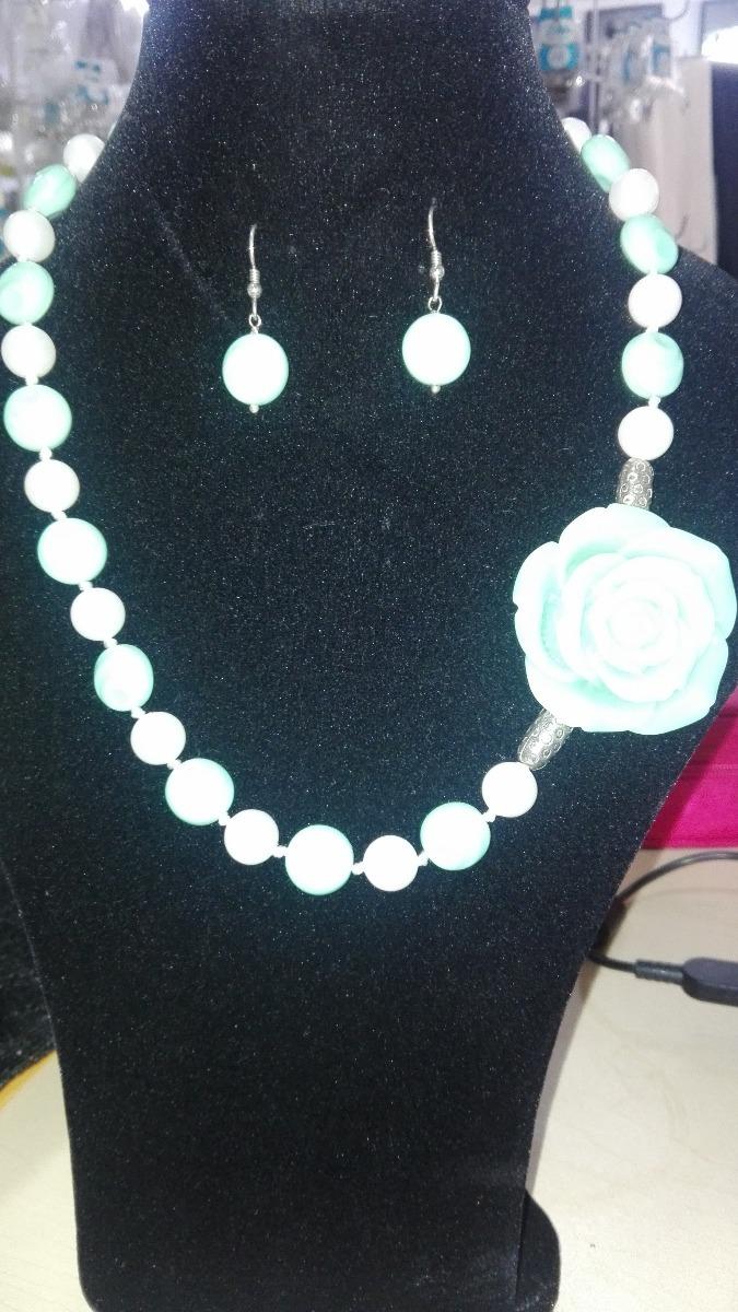 721495d8c673 Collar Con Aretes Perla Swarovski, Cristal Checo Perlas #684