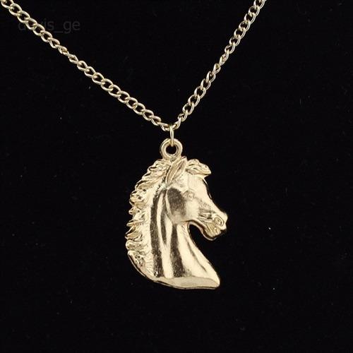 collar  con cabeza de caballo gold plated regalo n-036