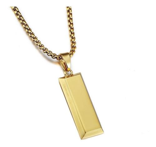 collar con colgante de barras de oro para hombre y mujer, di