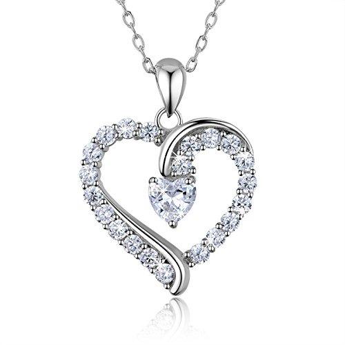 6cb62537c0f5 Collar Con Corazón Colgante Hecho En Plata Ley 925 Y Circon ...