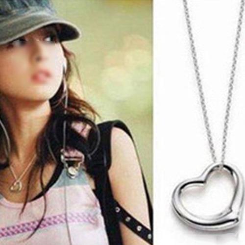collar con corazón plateado simple heart regalo n-418 f