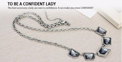 collar con cristales swarovski y plata 925 aleación platino