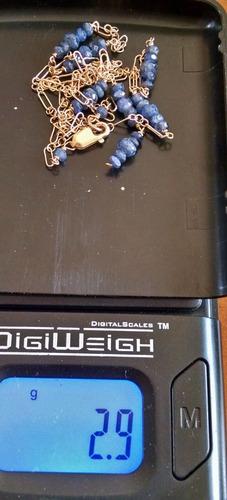 collar con cuentas de zafiro cadena de óvalos de 41cm 14k