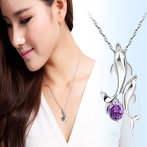collar con delfines cristal zirconia color morado n-312 f