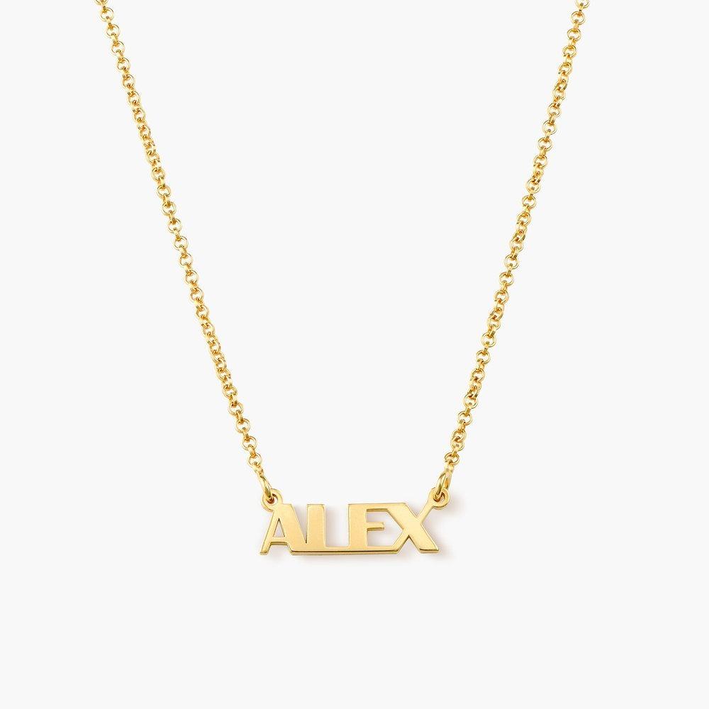 94b3f4ffe49f collar con nombre en letras mayúsculas chapado en oro de 18k. Cargando zoom.