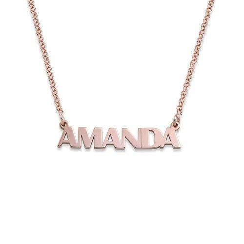 ead890c237ab Collar Con Nombre En Letras Mayúsculas Chapado En Oro Rosa ...