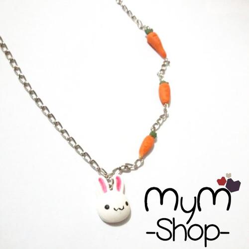 collar conejo y zanahorias kawaii cute accesorios amor anime
