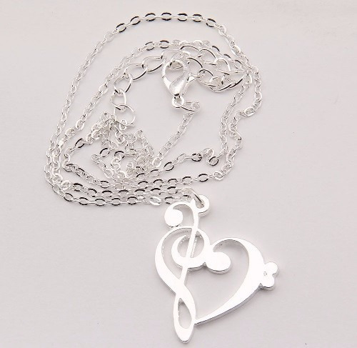 collar corazón clave de sol amo la música