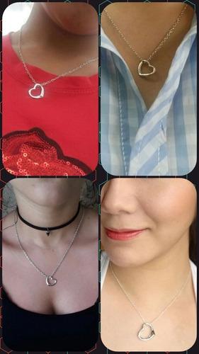 collar corazon color plateado pareja enamorados san valentin