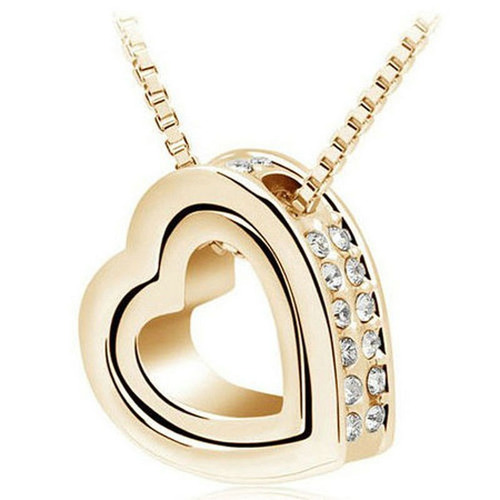 collar corazón cristales zirconia dorado regalo n-502
