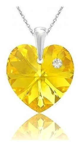 collar corazón de cristal swarovski y plata - sunflower