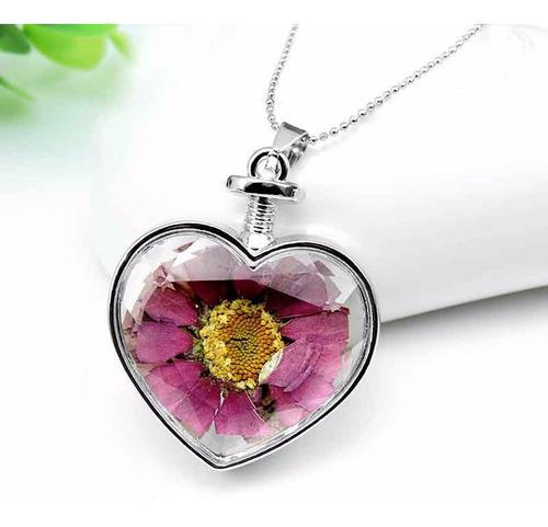 collar corazon flores hermoso plateado bisutería flor moda
