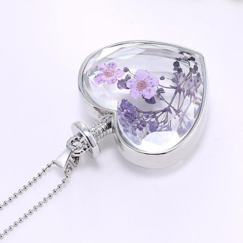 collar corazon flores lindo hermoso plateado bisutería