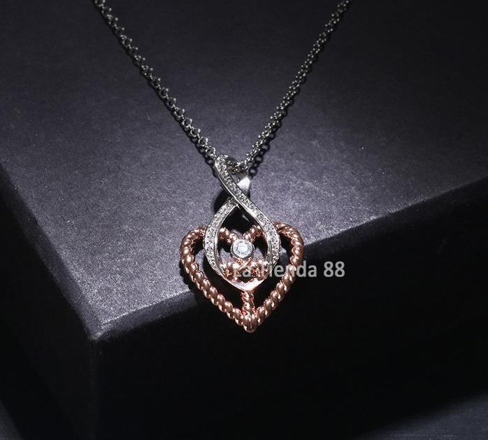 05fa5237ee39 Collar Corazón Mujer San Valentín Oro Rosa Y Blanco De 18kl. - S  95 ...