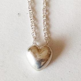 d5e93dc79368 Collar Corazón Pequeño De 46cm O 40.6cm Plata Sólida .925