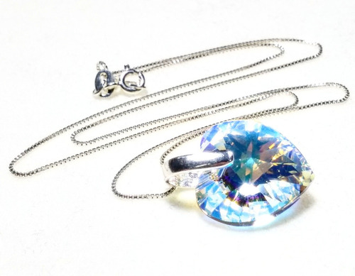 collar corazón swarovski aurora boreal 18mm cadena plata 925