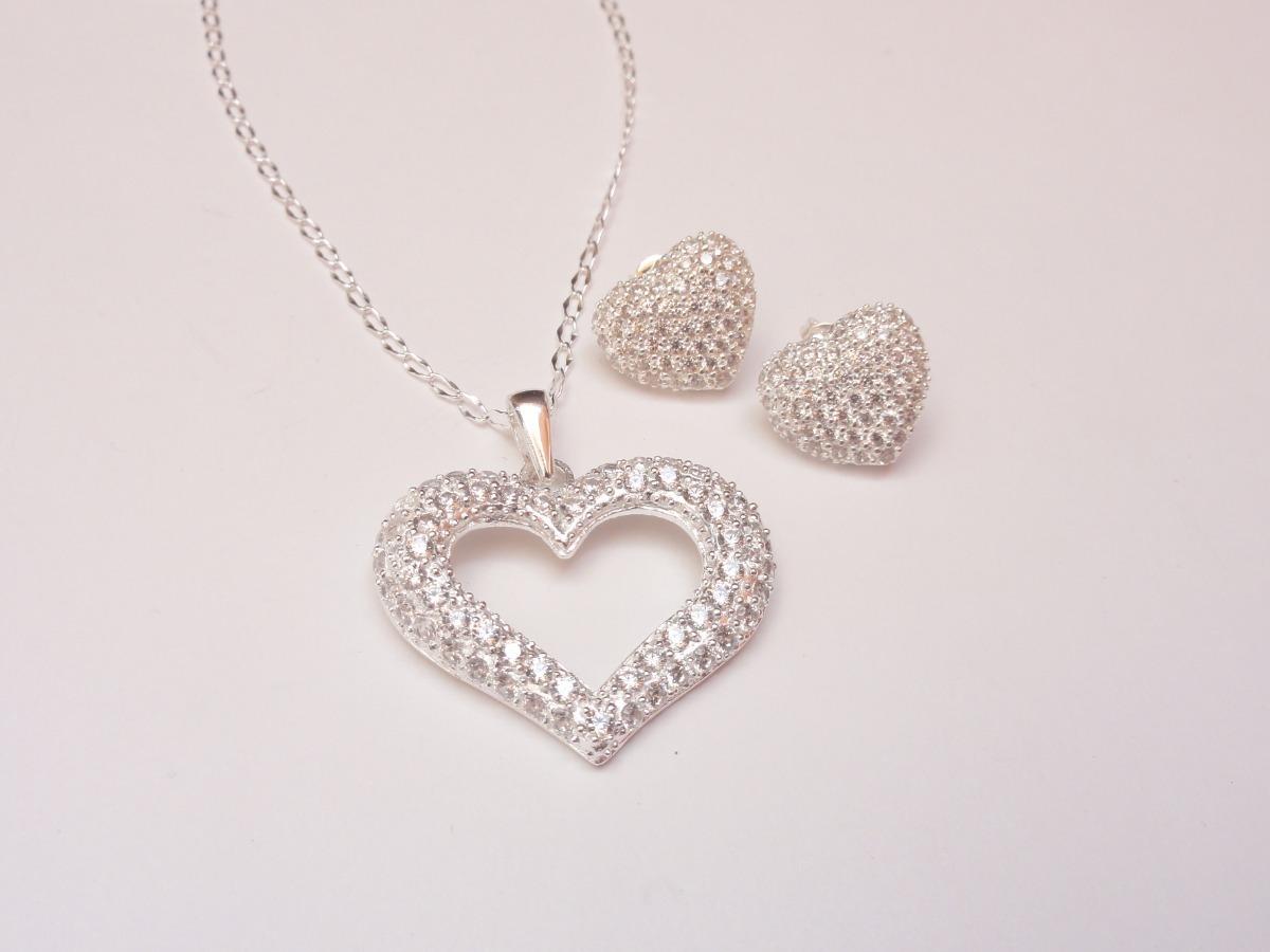 b2925ac2e4f4 collar corazón y aretes en plata y zirconia. regalo damas. Cargando zoom.