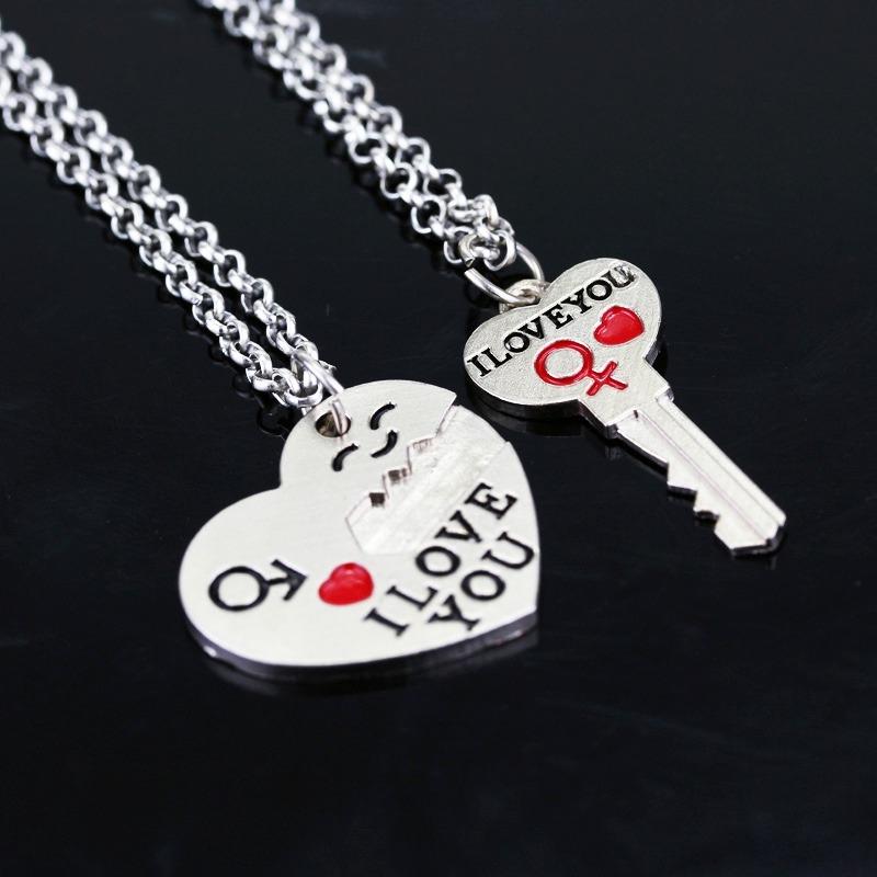collar corazón y llave regalo amor pareja novios enamorados. Cargando zoom.